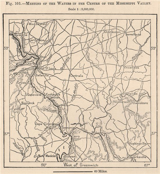 Associate Product Meeting of the Waters in the centre of the Mississippi Valley. USA 1885 map