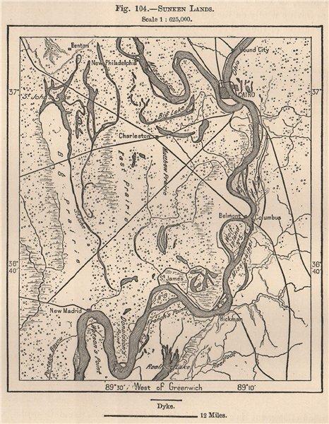 Associate Product Sunken Lands. USA 1885 old antique vintage map plan chart