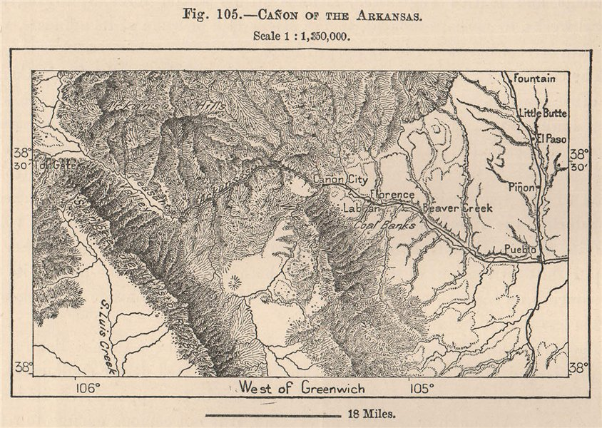 Associate Product Canyon of the Arkansas. Colorado 1885 old antique vintage map plan chart