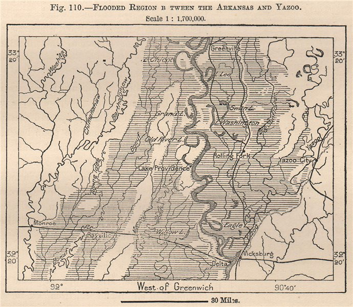 Associate Product Flooded region between the Arkansas and Yazoo. USA 1885 old antique map chart