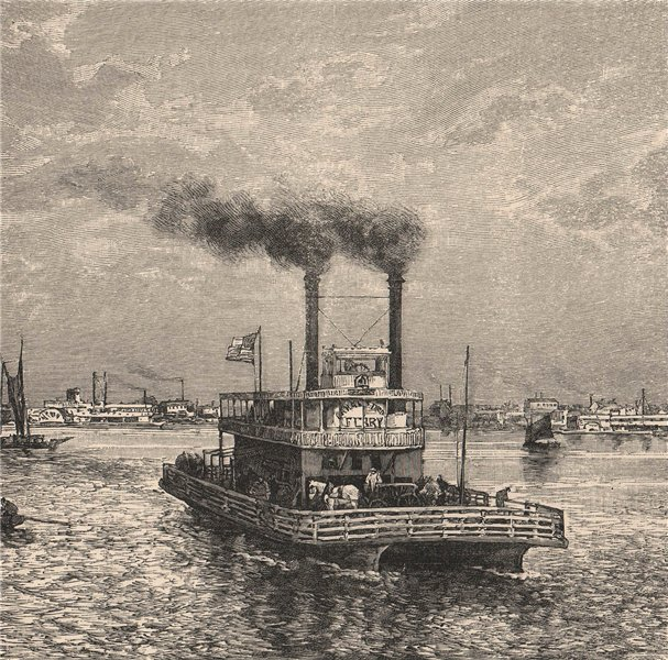 Associate Product Steam Ferry on the Mississippi. Louisiana 1885 old antique print picture