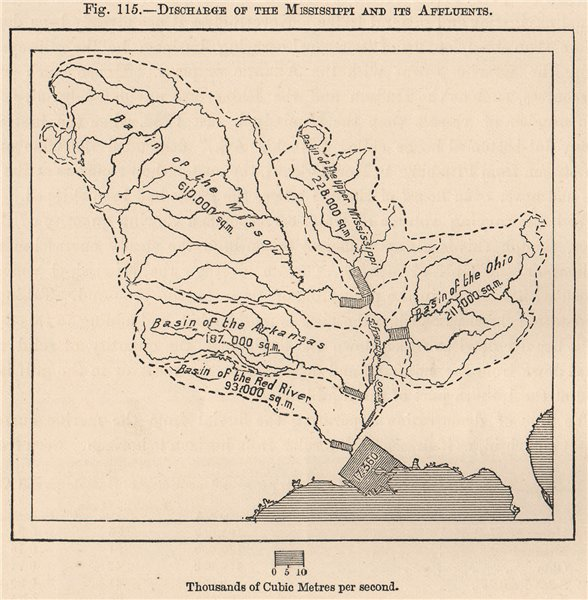 Associate Product Discharge of the Mississippi and its Affluents. USA 1885 old antique map chart