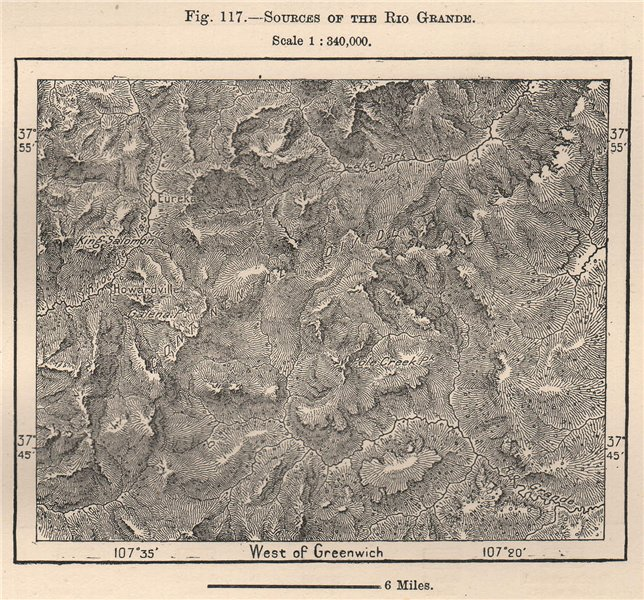 Associate Product Sources of the Rio Grande. Colorado 1885 old antique vintage map plan chart
