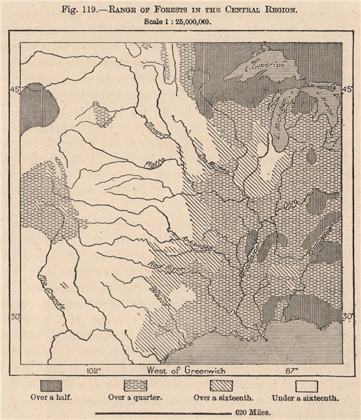Associate Product Range of Forests in the central region. USA 1885 old antique map plan chart