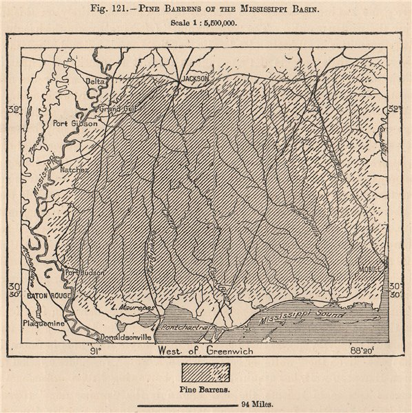 Associate Product Pine Barrens of the Mississippi Basin. USA 1885 old antique map plan chart