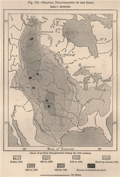 Associate Product Gradual disappearance of the Bison. USA 1885 old antique map plan chart