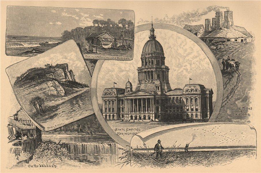 Associate Product Illinois 1885 old antique vintage print picture