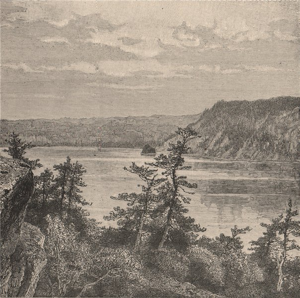 The Devil's Lake, Wisconsin 1885 old antique vintage print picture