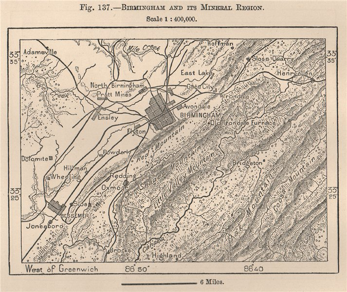 Associate Product Birmingham and its mineral region. Alabama 1885 old antique map plan chart