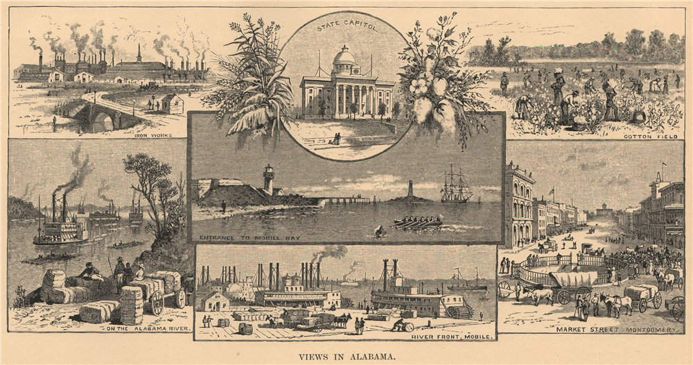 Associate Product Views in Alabama 1885 old antique vintage print picture
