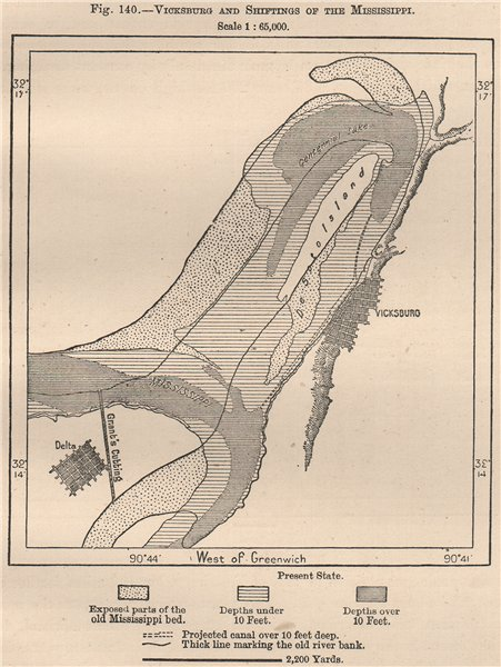 Associate Product Vicksburg and shiftings of the Mississippi 1885 old antique map plan chart