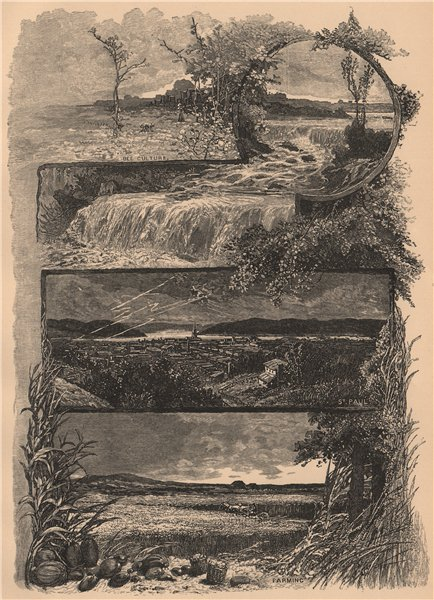 Associate Product Scenery in Minnesota 1885 old antique vintage print picture