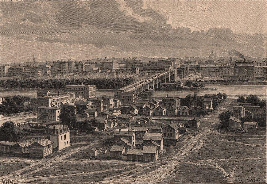 Associate Product General view of Saint Paul. Minnesota 1885 old antique vintage print picture