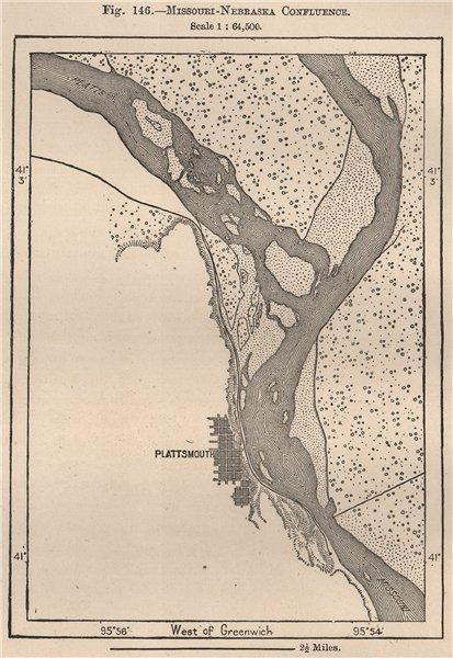 Associate Product Missouri-Nebraska confluence 1885 old antique vintage map plan chart