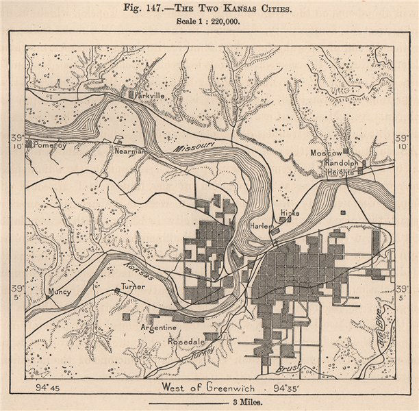 Associate Product The two Kansas Cities 1885 old antique vintage map plan chart
