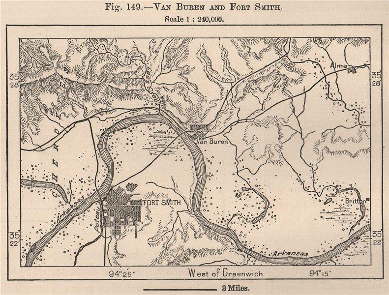 Associate Product Van Buren and Fort Smith. Arkansas 1885 old antique vintage map plan chart