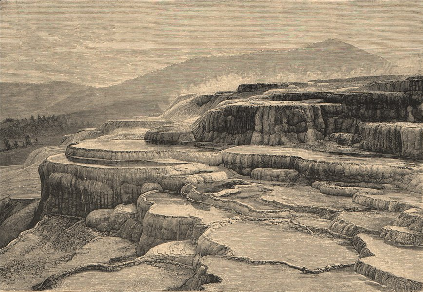 Associate Product The Mammoth Terraces, Yellowstone National Park. Wyoming 1885 old print