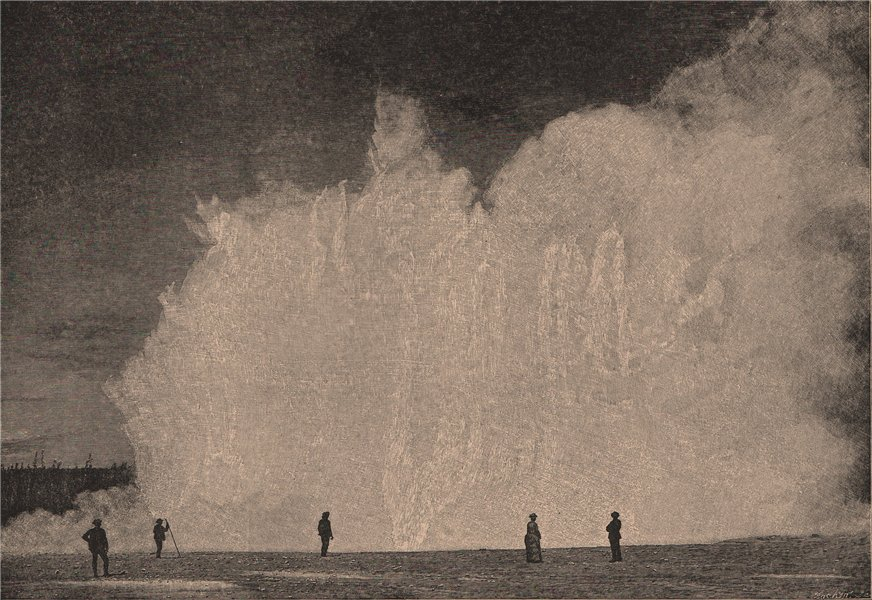 Associate Product Excelsior Geyser, Yellowstone Park. Wyoming 1885 old antique print picture