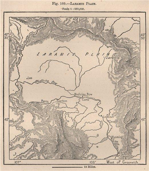 Laramie Plain. Wyoming 1885 old antique vintage map plan chart