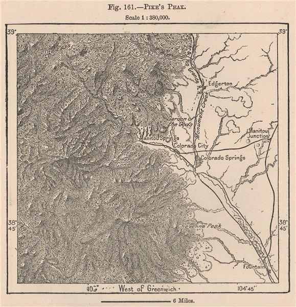 Associate Product Pike's Peak. Colorado 1885 old antique vintage map plan chart