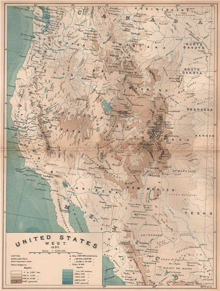 Associate Product United States West. 1892. USA 1885 old antique vintage map plan chart