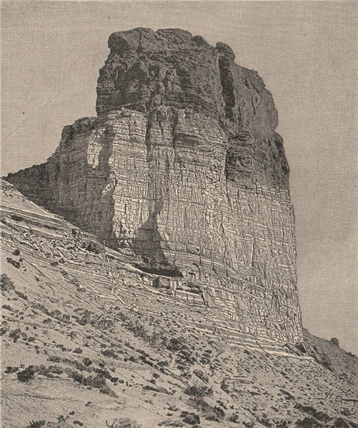 Associate Product Bluff on the Green River at upper end of the Grand Canyon. Utah 1885 old print