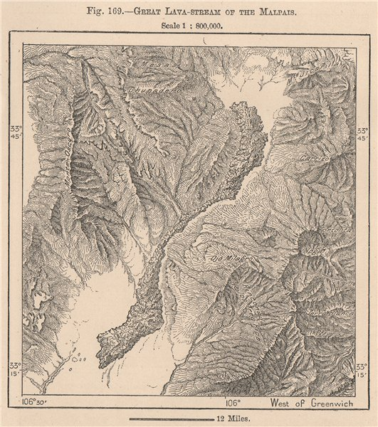 Associate Product Great Lava-stream of the Malpais. New Mexico 1885 old antique map plan chart