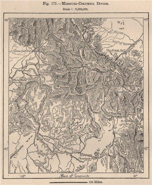 Associate Product Missouri-Columbia divide. USA 1885 old antique vintage map plan chart