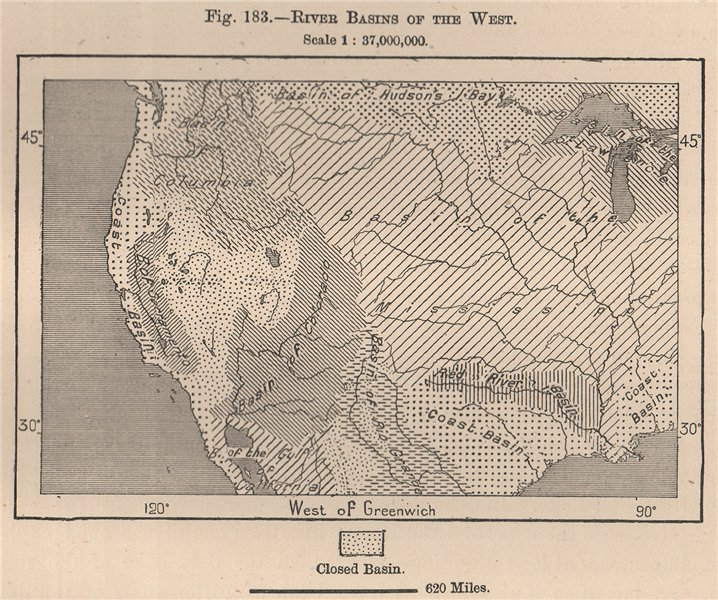Associate Product River Basins of the West. USA 1885 old antique vintage map plan chart