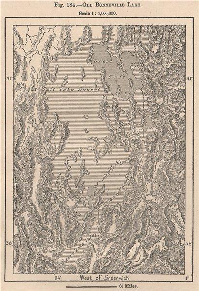 Associate Product Old Bonneville Lake. Utah 1885 antique vintage map plan chart