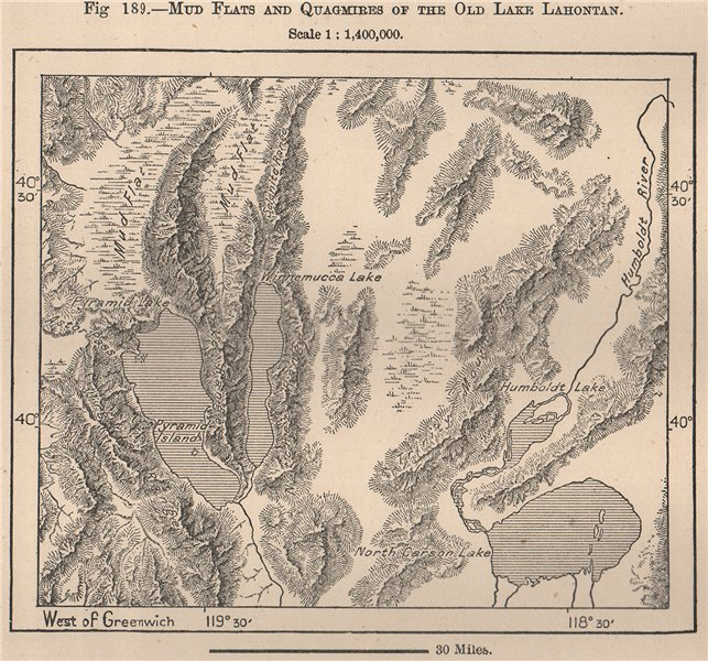 Associate Product Mud flats and quagmires of the Old Lake Lahontan. Nevada 1885 antique map