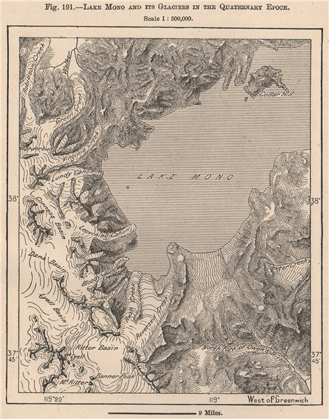 Associate Product Lake Mono and its Glaciers in the Quaternary Epoch. California 1885 old map