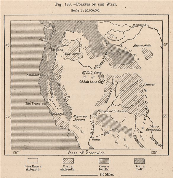 Associate Product Forests of the West. USA 1885 old antique vintage map plan chart