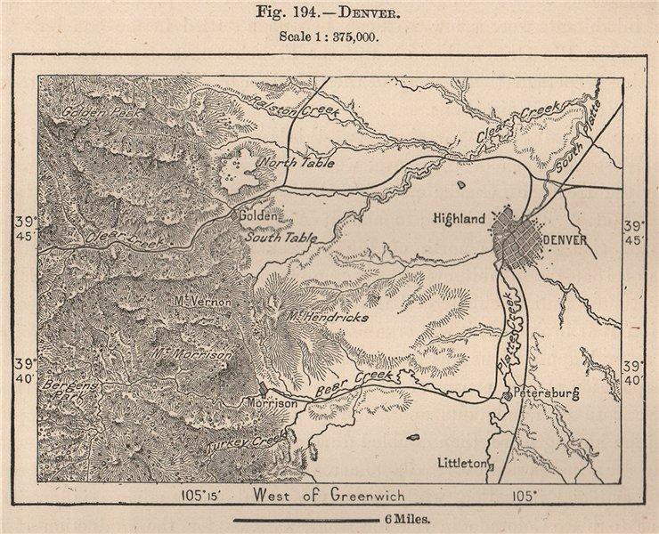 Denver. Colorado 1885 old antique vintage map plan chart