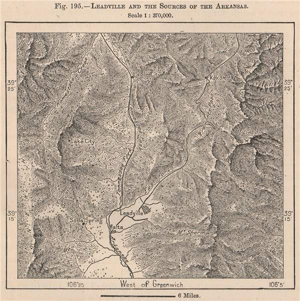 Associate Product Leadville and the Sources of the Arkansas. Colorado 1885 old antique map chart