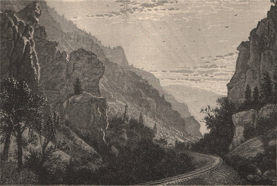 Associate Product Sunrise in the American Fork Canyon, Utah 1885 old antique print picture