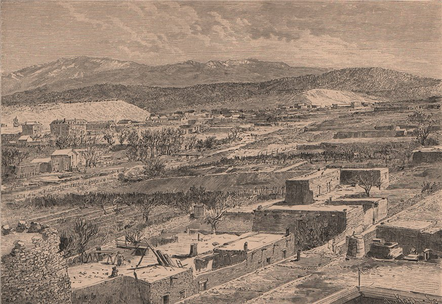 Associate Product General view of Santa Fe, Capital of New Mexico 1885 old antique print picture