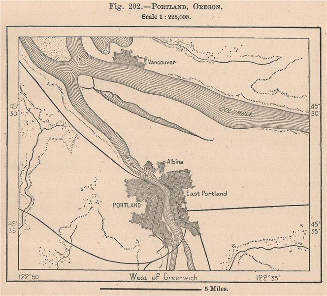 Associate Product Portland, Oregon 1885 old antique vintage map plan chart