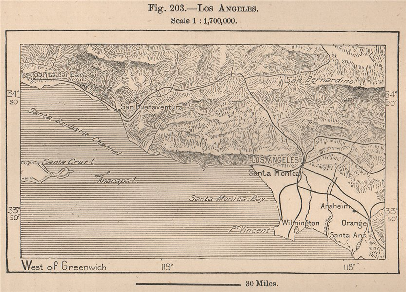 Associate Product Los Angeles. California 1885 old antique vintage map plan chart