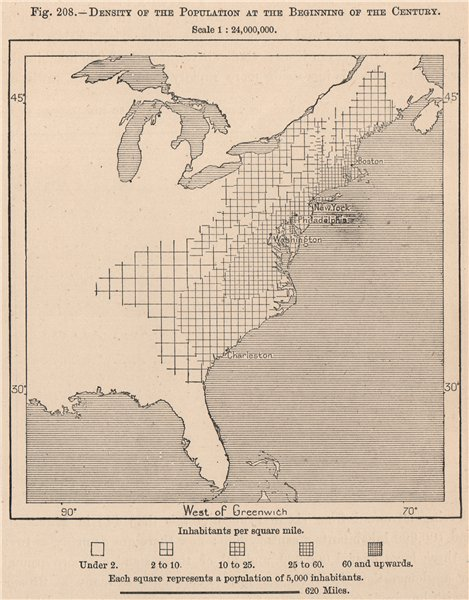 Associate Product USA population density in 1900. United States 1885 old antique map plan chart