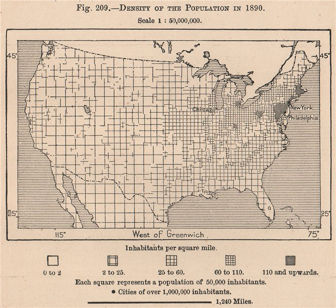 Associate Product Density of the population in 1890. USA. United States 1885 old antique map