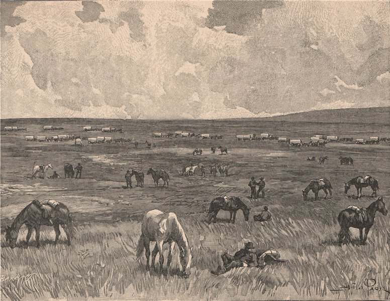 Associate Product Camp in the Alkaline Valley, Black Hills. South Dakota 1885 old antique print