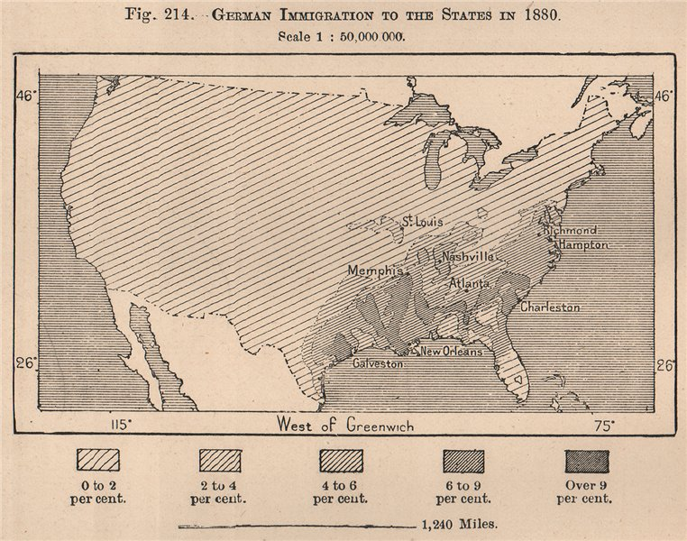 German Immigration to the States in 1880. USA. United States 1885 old map