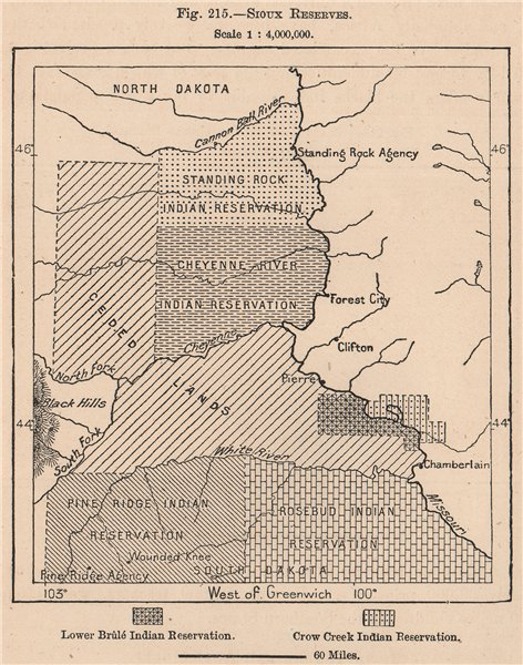 Associate Product Sioux Reserves. South Dakota. United States 1885 old antique map plan chart