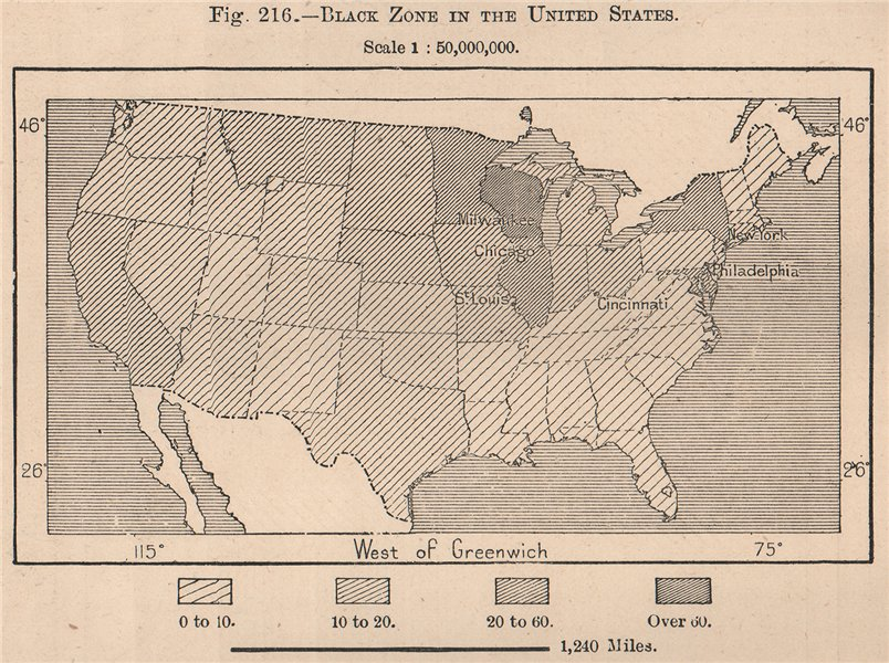 Associate Product Black zone in the United States & population. USA 1885 old antique map chart