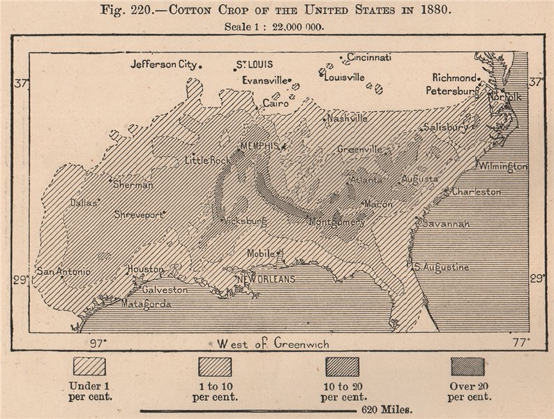 Associate Product Cotton crop of the United States in 1880. USA 1885 old antique map plan chart