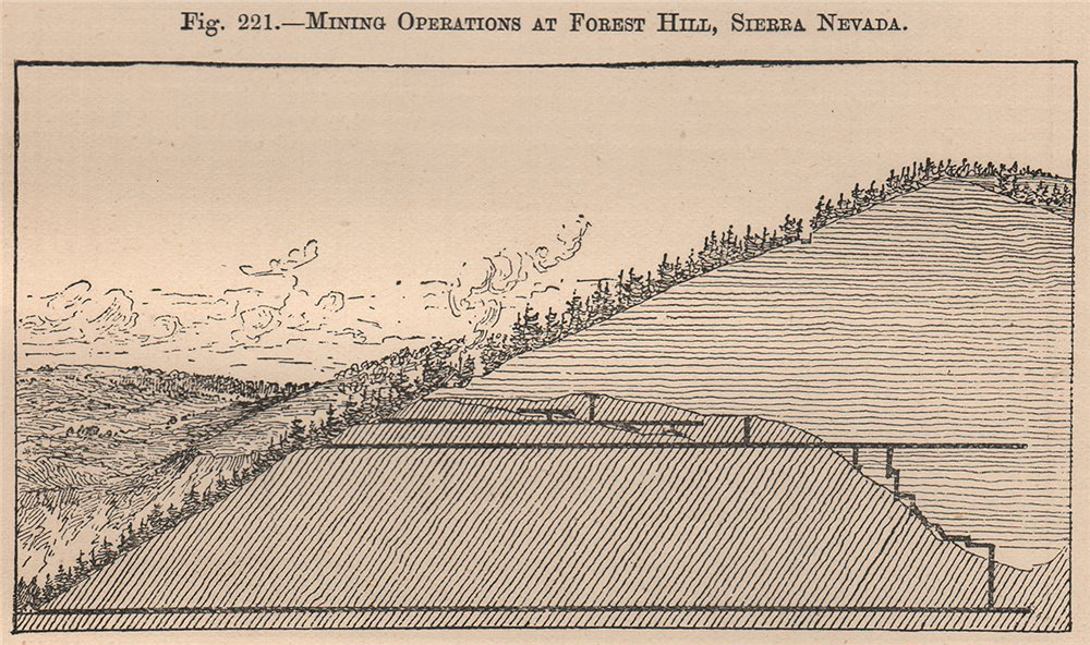 Associate Product Mining operations at Forest Hill, Sierra Nevada. California 1885 old print