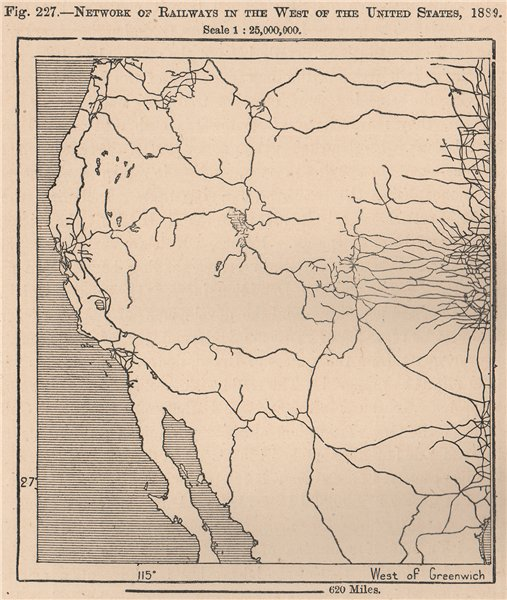 Associate Product Network of Railways in the West of the United States, 1889. USA 1885 old map