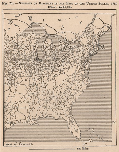 Associate Product Network of Railways in the East of the United States, 1889. USA 1885 old map