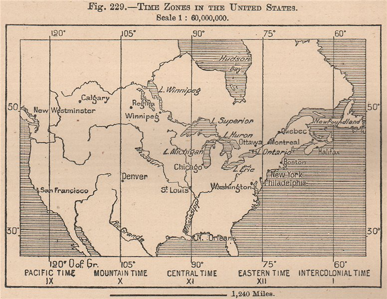Associate Product Times Zones in the United States. USA 1885 old antique vintage map plan chart